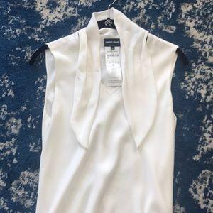 White silk Giorgio Armani sleeveless blouse